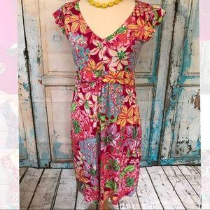 Lilly Pulitzer Silk Floral Dress Medium Spring